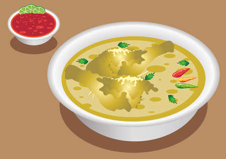 Vector - Gulai Opor Ayam, Indonesian  Food Chicken in Coconut milk Standard-Bild - 118627716