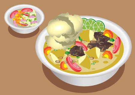 Vector -  Soto Betawi, Beef Soup with Coconut Milk From Jakarta Illustration