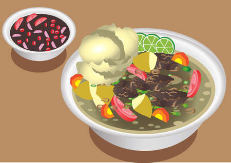 Vector - Soto Babat, Traditional Beef Soup From Java, Indonesia Ilustrace