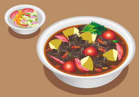Vector - Tongseng, Lamb Stewed in Coconut Milk And Black Soy Sauce, Traditional Food From Yogyakarta, Cenrtral Java Indonesia
