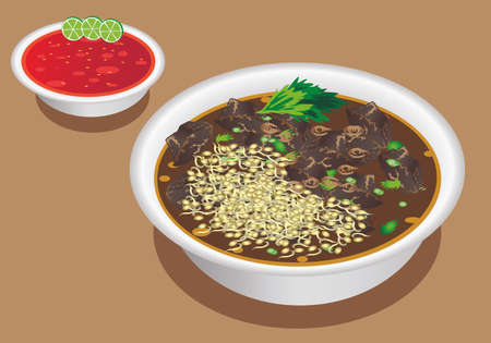 Vector - Rawon , Surabaya, East Javanese Beef Soup, Indonesian Food Illustration
