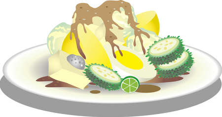 Vector - Siomay, Boiled cabbage, potato, bistre gourd, ego, With Peanut Sauce, Indonesian Food From West Java