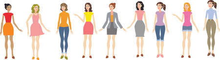 Vector - Woman And Teen Girl Set In Different Fashion Formal And Casual Standing front view