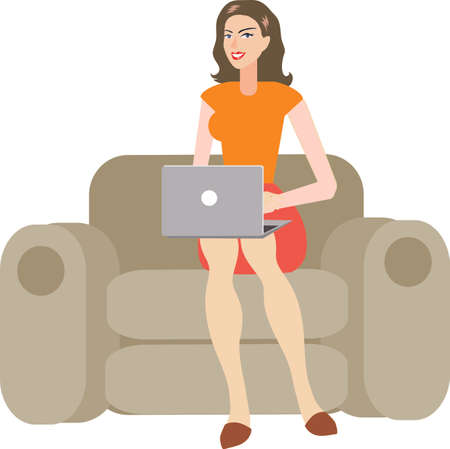 Vector - Sexy Brunette Woman Using Laptop On Sofa