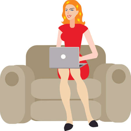 Vector - Sexy Blonde Woman Using Laptop On Sofa