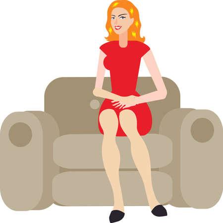 Vector - Sexy Blonde Woman Sitting On Sofa Ilustração