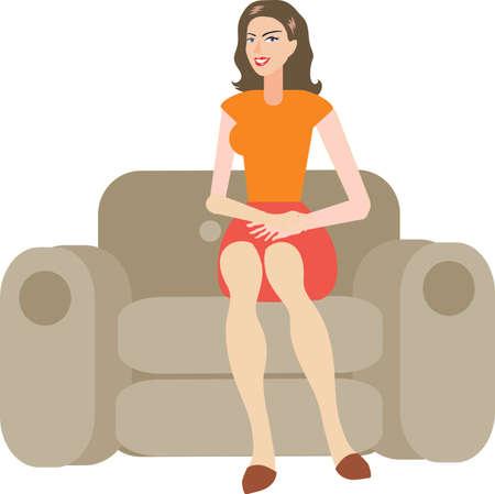 Vector - Beautiful Woman Sit On Sofa