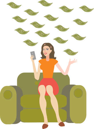 Vector - Beautiful Woman Sitting on Sofa with Lot Of Money Bill