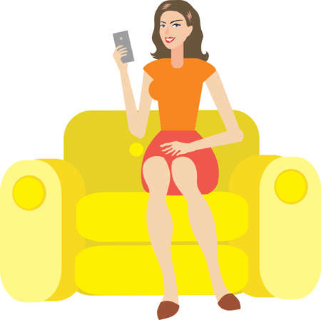 Vector - Woman Sitting On Sofa With Mobile Phone Illustration