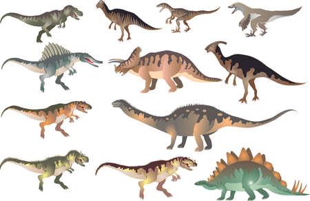 Set Of Dinosaurus T-rex, Stegosaurus, Pacycephalosaurus, Triceratop - Vector Illustration
