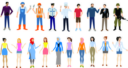 Vector = Peoples Man And Woman  In Various Job Ocupation Formal, Casual And Hijab Standing front view
