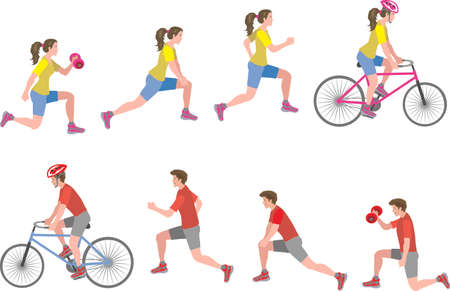 Vector  - Man And Woman Workout Exercise White Background Side View