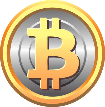 Coin Bitcoin in silver and gold lining