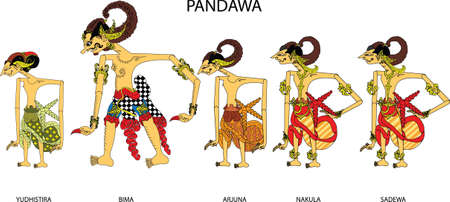 Wayang Pandawa Character, Indonesian Traditional Shadow Puppet - Vector Illustration 向量圖像