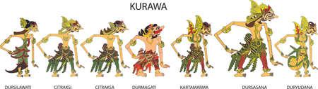 Wayang Kurawa Character, Indonesian Traditional Shadow Puppet - Vector Illustration