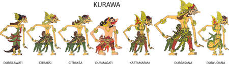 Wayang Kurawa Character, Indonesian Traditional Shadow Puppet - Vector Illustration