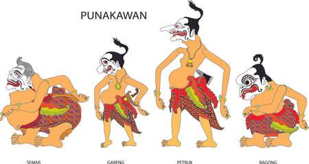 Wayang Punakawan Character, Indonesian Traditional Shadow Puppet - Vector Illustration