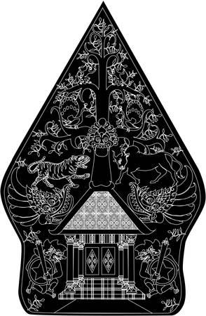 Wayang Gunungan Black Character, Indonesian Traditional Shadow Puppet - Vector Illustration Illustration