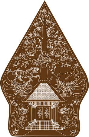 Wayang Gunungan Brown Character, Indonesian Traditional Shadow Puppet - Vector Illustration Illustration