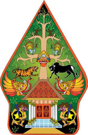 Wayang Gunungan Color Character, Indonesian Traditional Shadow Puppet - Vector Illustration