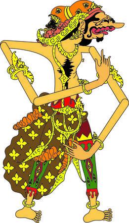 Wayang Sengkuni Character, Indonesian Traditional Shadow Puppet - Vector Illustration