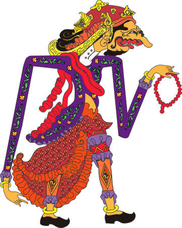 Wayang Dorna Character, Indonesian Traditional Shadow Puppet - Vector Illustration