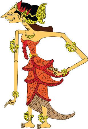 Wayang Srikandi Charakter, traditionelle indonesische Schattenpuppe - Vektorillustration Vektorgrafik