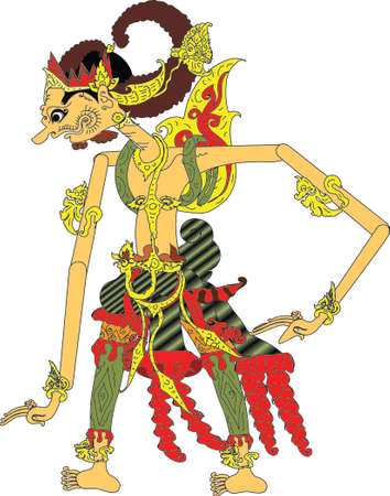 Wayang Gatotkaca Character, Indonesian Traditional Shadow Puppet - Vector Illustration
