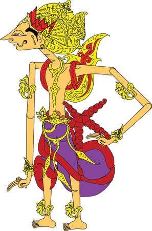 Wayang Karna Character, Indonesian Traditional Shadow Puppet - Vector Illustration