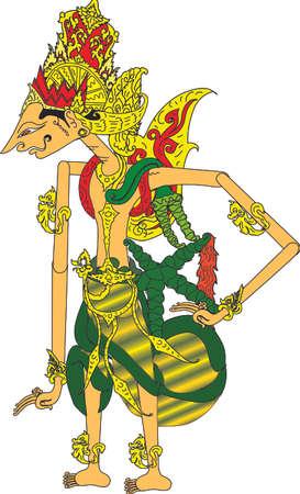 Personaje de Wayang Rama, marioneta de sombras tradicional indonesia - ilustración vectorial Ilustración de vector