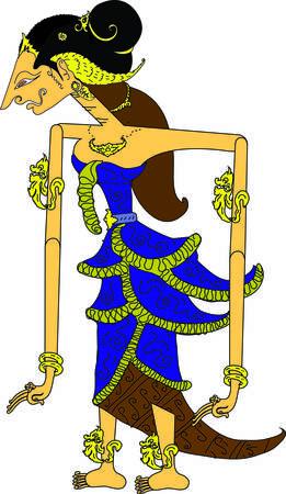 Wayang Sinta  Character, Indonesian Traditional Shadow Puppet - Vector Illustration