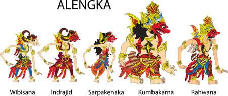 Wayang Alengka Characters, Indonesian Traditional Shadow Puppet - Vector Illustration