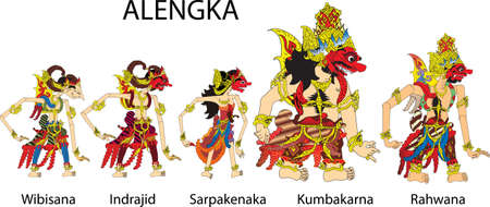 Wayang Alengka Characters, Indonesian Traditional Shadow Puppet - Vector Illustration