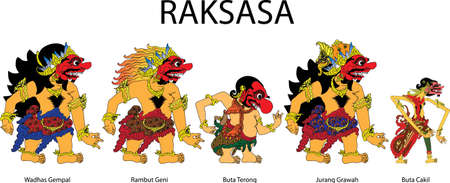 Wayang Raksasa, Ogre Characters R Indonesian Traditional Shadow Puppet - Vector Illustration