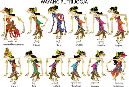 Wayang Putri Jogja, Female and Ladies Characters, Javanese Indonesian - Vector Illustration