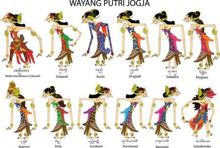 Wayang Putri Jogja, weibliche und weibliche Charaktere, javanisch-indonesisch - Vektorillustration