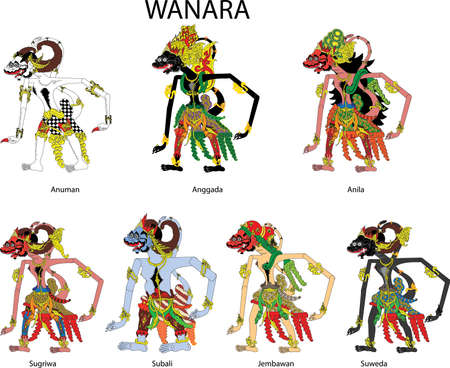 Wayang Wanara, Hanuman And The Monkeys  Characters, Javanese Indonesian - Vector Illustration