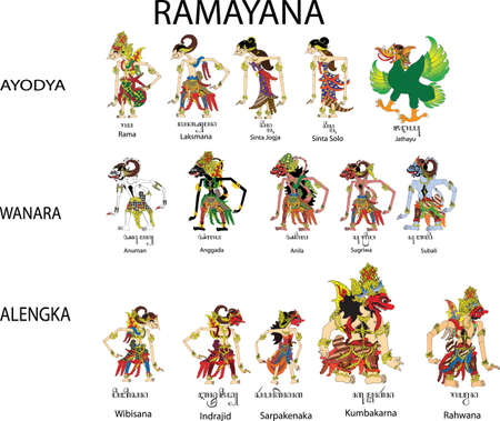 Wayang Ramayana Set, Rama , Sinta, Hanuman And Rahwana  Character, Indonesian Traditional Shadow Puppet - Vector Illustration Ilustração