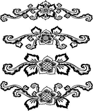 decorative design 3 ,Vintage  frame border tattoo floral ornament leaf scroll engraved retro flower pattern tattoo black and white filigree calligraphic vector heraldic swirl -Vector