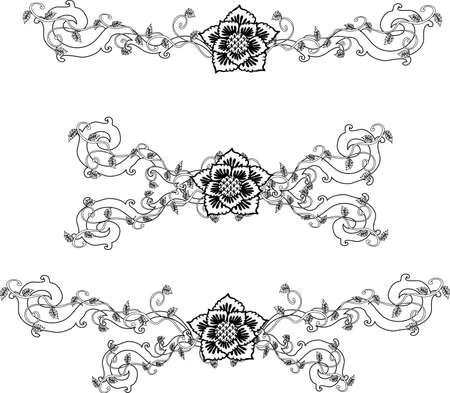 decorative design 11 ,Vintage  frame border tattoo floral ornament leaf scroll engraved retro flower pattern tattoo black and white filigree calligraphic vector heraldic swirl -Vector