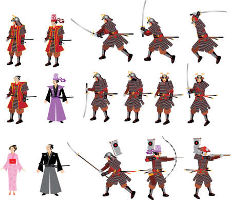 Japanese Samurai Set,  Swordman, Archer, Spikeman, lady and riffleman with armor - Vector