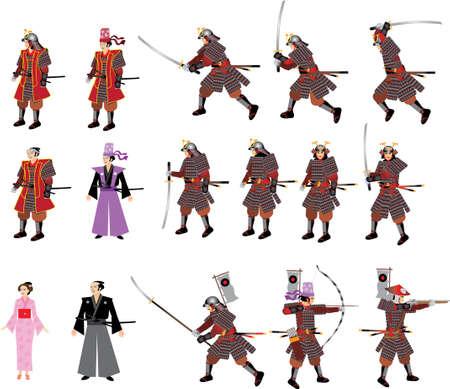 Japanese Samurai Set,  Swordman, Archer, Spikeman, lady and riffleman with armor - Vector