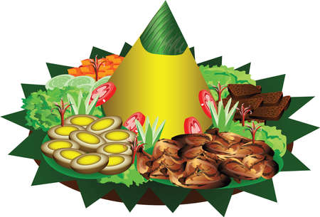 Nasi Tumpeng, Traditional Indonesian Ceremonial Food from Java Island, with yellow rice, chicken, eggs and veggie - Vector