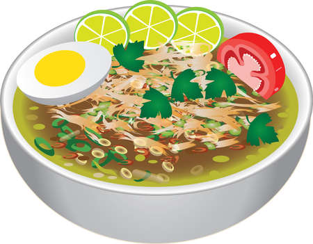 Javanese Indonesian Chicken Soup, Soto Ayam Lamingan - Vector Imagens - 129783883