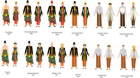 Aneka Pengantin Jawa, Various Javanese Indonesian Wedding Dress Set, Groom and Bride - Vector