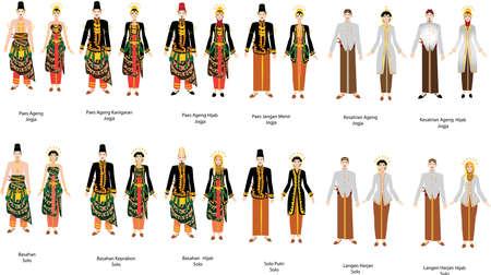 Aneka Pengantin Jawa, Various Javanese Indonesian Wedding Dress Set, Groom and Bride - Vector