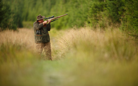 hunter man: hunter with his rifle in spring forest, hunter holding a rifle and waiting for prey, hunter shooting