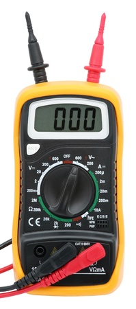 Digital multimeter isolated on white. photo
