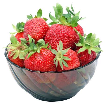 Bowl with strawberries isolated on white background. photo