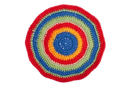 handmade napkin, crocheted with colorful threads